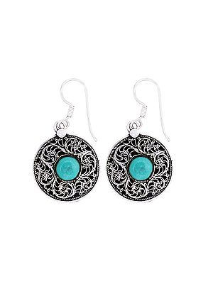 Designer Sterling Silver Earrings Studded with Turquoise Stone