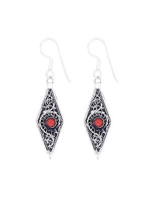 Stylish Sterling Silver Earrings with Coral Stone