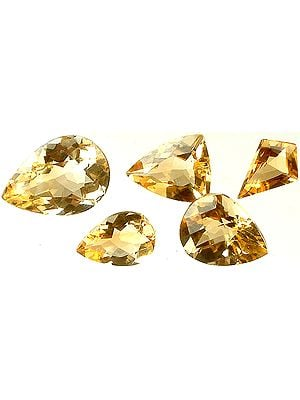 Lot of Five Faceted Citrines