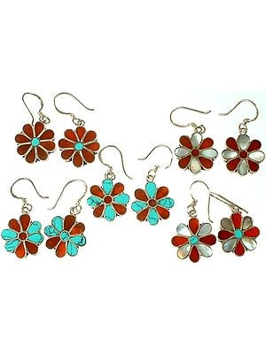 Lot of Five Floral Inlay Earrings