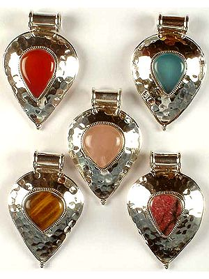 Lot of Five Gemstone Pendants with Dimples
