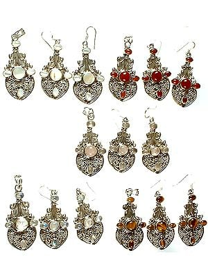 Lot of Five Gemstone Pendants with Earrings Set (Shell, Carnelian, Rose Quartz, Rainbow Moonstone and Tiger Eye)
