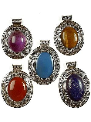Lot of Five Gemstone Pendants with Filigree<br>(Amethyst, Tiger Eye, Blue Chalcedony, Carnelian & Lapis Lazuli)