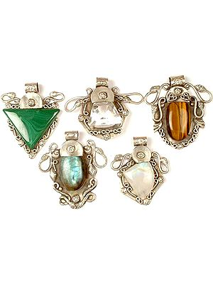 Lot of Five Gemstone Serpent Pendants<br>(Malachite, Faceted Crystal, Tiger Eye, Labradorite & Rainbow Moonstone)