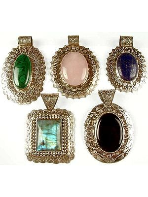 Lot of Five Large Gemstone Pendants