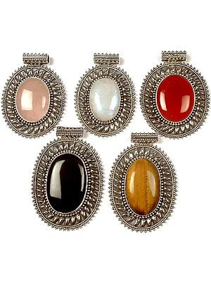 Lot of Five Large Oval Gemstone Pendants<br>(Rose Quartz, Rainbow Moonstone, Carnelian, Black Onyx & Tiger Eye)