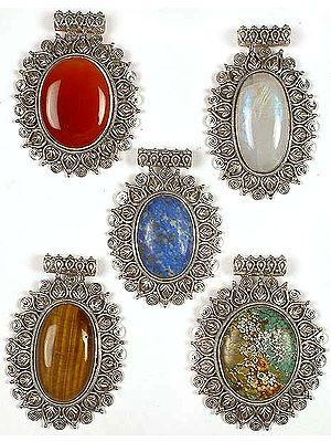Lot of Five Oval Gemstone Pendants<br>(Carnelian, Rainbow Moonstone, Lapis Lazuli, Tiger Eye & Turquoise)