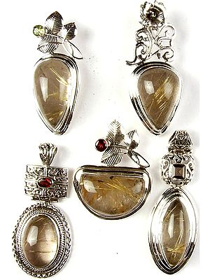 Lot of Five Rutilated Quartz Pendants