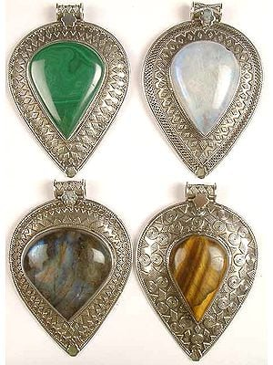 Lot of Four Inverted Tear Drop Gemstone Pendants with Granulation<br>(Malachite, Rainbow Moonstone, Labradorite & Tiger Eye)