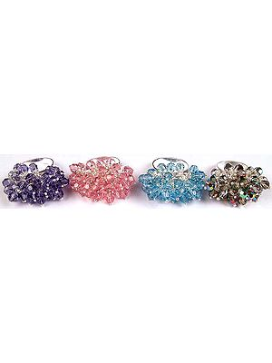 Lot of Four Swarovski Gypsy Rings
