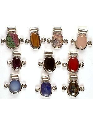 Lot of Ten Gemstone Pendants with Spirals