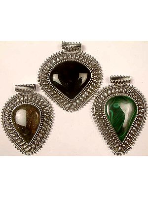 Lot of Three Large Gemstone Pendants<br>(Black Onyx, Labradorite & Malachite)