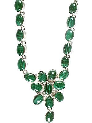Sterling Silver Necklace with Large Size Malachite Stones