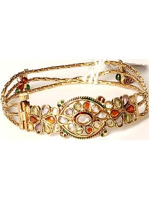 Multi-Color Polki Cut Glass Bracelet with Screw Clasp