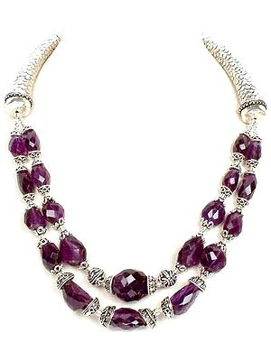 Necklace of Faceted Amethyst Nuggets