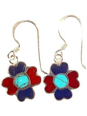 Nepalese Inlay Flower Earrings