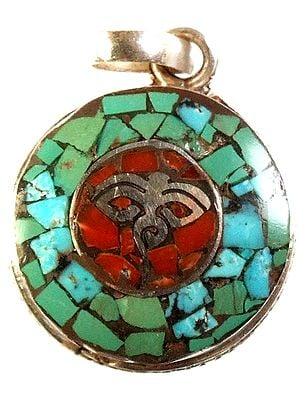 Nepalese Inlay Pendant with Central Swayambhunath Eyes