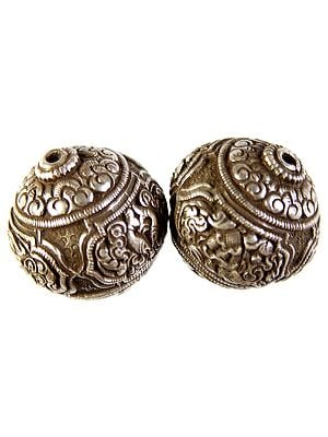 Nepalese Superfine Handcarved  Beads with Four Auspicious Buddhist Symbols (Ashtamangala)  (Price Per Piece) (Mixed Lot)