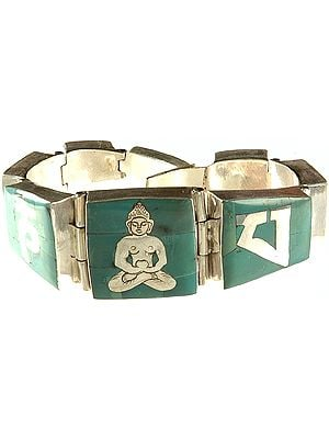 Om Mani Padme Hum Bracelet with Central Buddha