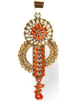 Orange Polki Pendant with Cut Glass