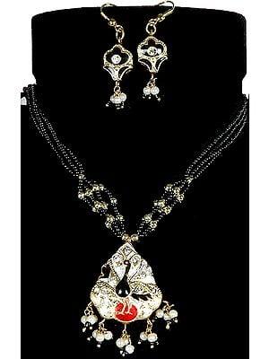Black Peacock Meenakari Necklace with Earrings