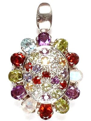 Tortoise Pendant of Fine Cut Gemstones