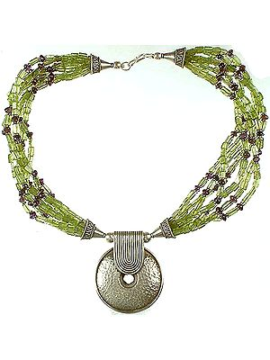Peridot Bunch Necklace with Amethyst