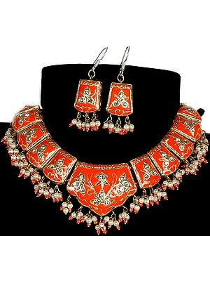 Mughal-Style Lacquered Cut-Glass Necklace With Drop Earrings