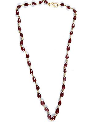 Plain Ruby Drop Beaded Necklace