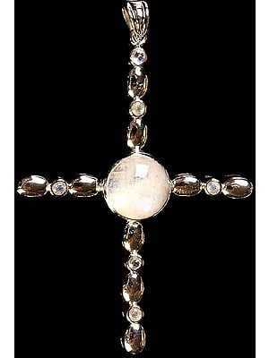 Rainbow Moonstone Cross Pendant