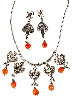 Designer Ethnic Necklace  with Carnelian and Matching Earrings