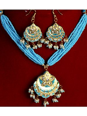 Robin-Egg Blue Necklace and Earrings Set with Islamic Crescent Moon