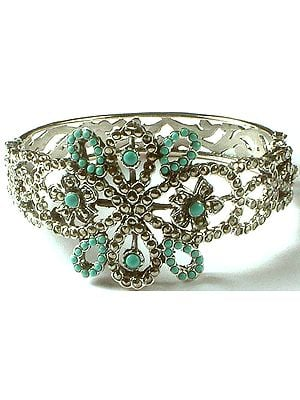 Robin's Egg Bangle with Marcasite