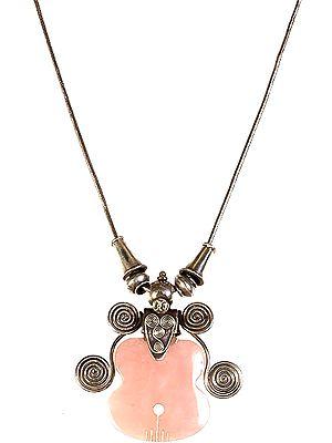 Rose Quartz Guitar Necklace with Spiral