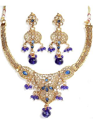 Royal-Blue Polki Necklace and Earrings Set with Filigree