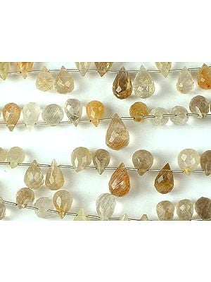 Rutilated Quartz Faceted Drops