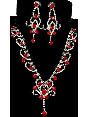 Scarlet Cut Glass Marvel Necklace with Earrings
