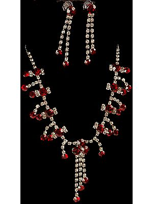 Scarlet Necklace and Earrings with Charms