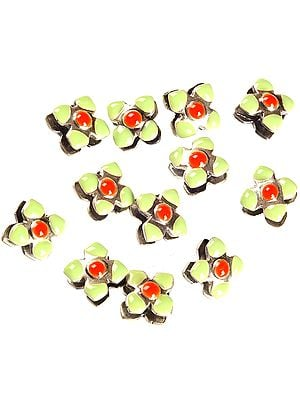 Square Flower Beads of Meenakari (Price Per Pair)