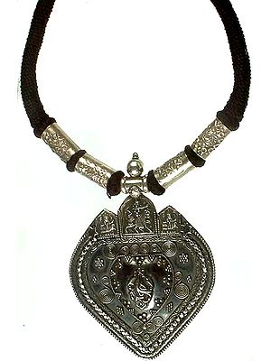 Sterling Antiquated Goddess Durga Necklace
