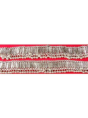 Sterling Beaded Anklets from Ratangarh (Price Per Pair)
