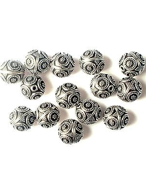 Sterling Beads with Flower Motifs<br>(Price Per Four Pieces)