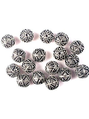 Sterling Beads with Granulation and Leaves<br>(Price Per Four Pieces)