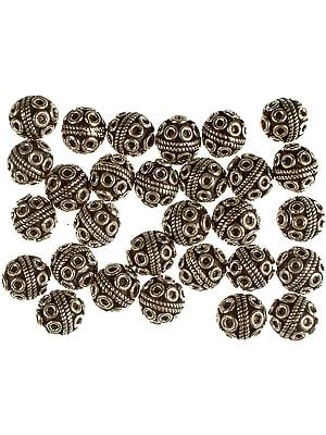 Sterling Beads with Knotted Rope and Attached Jump Rings (Price Per Pair)
