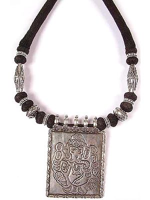 Sterling Ganesha Necklace with Matching Cord
