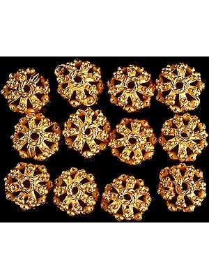 Sterling Gold Plated Lattice Caps with Granulation (Price Per Pair)