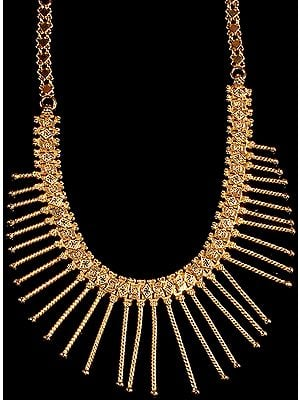 Sterling Gold Plated Necklace with Spikes