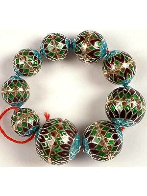 Sterling Meenakari Beads (Price Per Nine Piece)