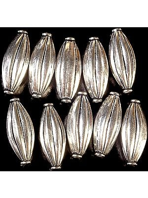 Sterling Mridangam Beads (Price Per Pair)