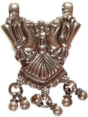 Sterling Peacock Pair Ratangarh Pendant